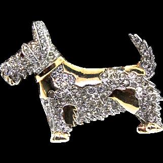 Vintage 1940s Philippe TRIFARI Scottie Terrier Dog Figural Rhinestone BROOCH Pin