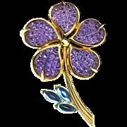 TRIFARI TM Invisible Set Flower Figural Purple Waffle Glass Stones Brooch Pin