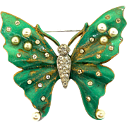 Vintage Philippe TRIFARI Green Enamel Fx Pearl Rhinestone BUTTERFLY Figural PIN Brooch