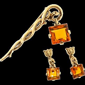 Vintage 1950 TRIFARI Square Cut Topaz Dangling Pendant Staff Pin & Earrings Set