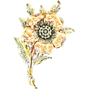 1940 Philippe TRIFARI Rhinestone Rose and Yellow Gold-Tone Rhodium Plated FUR CLIP Brooch Pin
