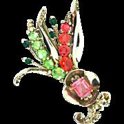 Vtg MAZER JOMAZ Large Rhinestone Glass Rhodium Plated FLORAL SPRAY Figural Brooch Pin