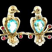 1940s REJA Sterling Rhinestone Aqua Glass Mr & Mrs Bird Figural Pair Brooch Pin