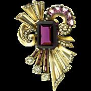 Vtg MAZER Sterling Huge Vermeil Plated Amethyst Glass Rhinestone BROOCH PIN
