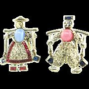 Vtg DUJAY Dutch Twins Jack Jill Rhinestone Figurals FUR CLIPS Pins Brooch BK PCS