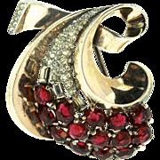 Vtg PHILIPPE TRIFARI Sterling Ruby Glass & Rhinestone Swirl Vermeil FUR CLIP Pin