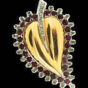Vintage MAZER Jomaz Sterling HEART Shaped Leaf Figural Fuchsia Rhinestone Fur Clip Brooch Pin