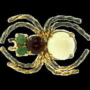 Vtg VICTORIAN Gilt Silver SPIDER Figural Genuine Opal Garnet Jade Brooch Pin 2.5g