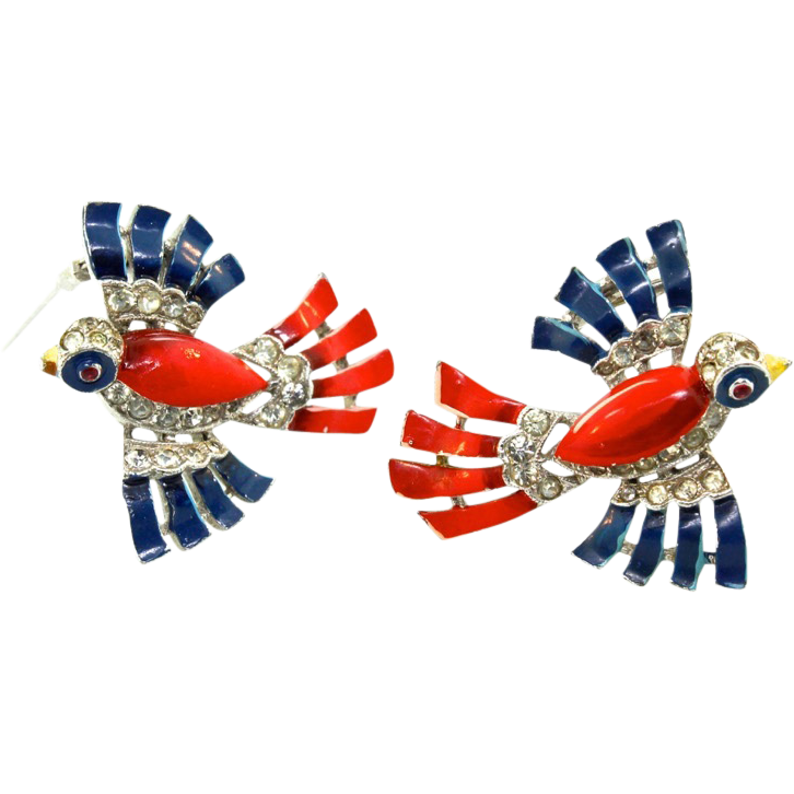 1940s Philippe TRIFARI Enameled Patriotic BIRD Figural Pair FUR CLIPS Pins Brooches