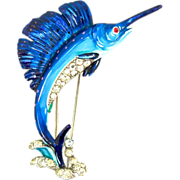Vtg 1940 Philippe TRIFARI Sailfish Fish Figural Rhinestone Enamel FUR CLIP Brooch Pin