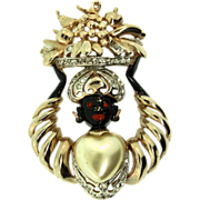 1940s REJA Blackamoor Fruit Basket Fx Pearl Heart Rhinestone Figural PIN Brooch
