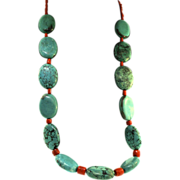 Vtg NAVAJO Native American Sterling 925 Genuine Turquoise & Coral Long NECKLACE