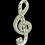 1950s BOUCHER Rhinestone Treble Clef Music Note Figural Brooch Pin