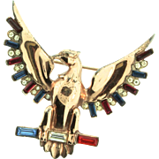 Vintage Large Sterling EAGLE Figural Rhinestone Patriotic WW2 Brooch Pin