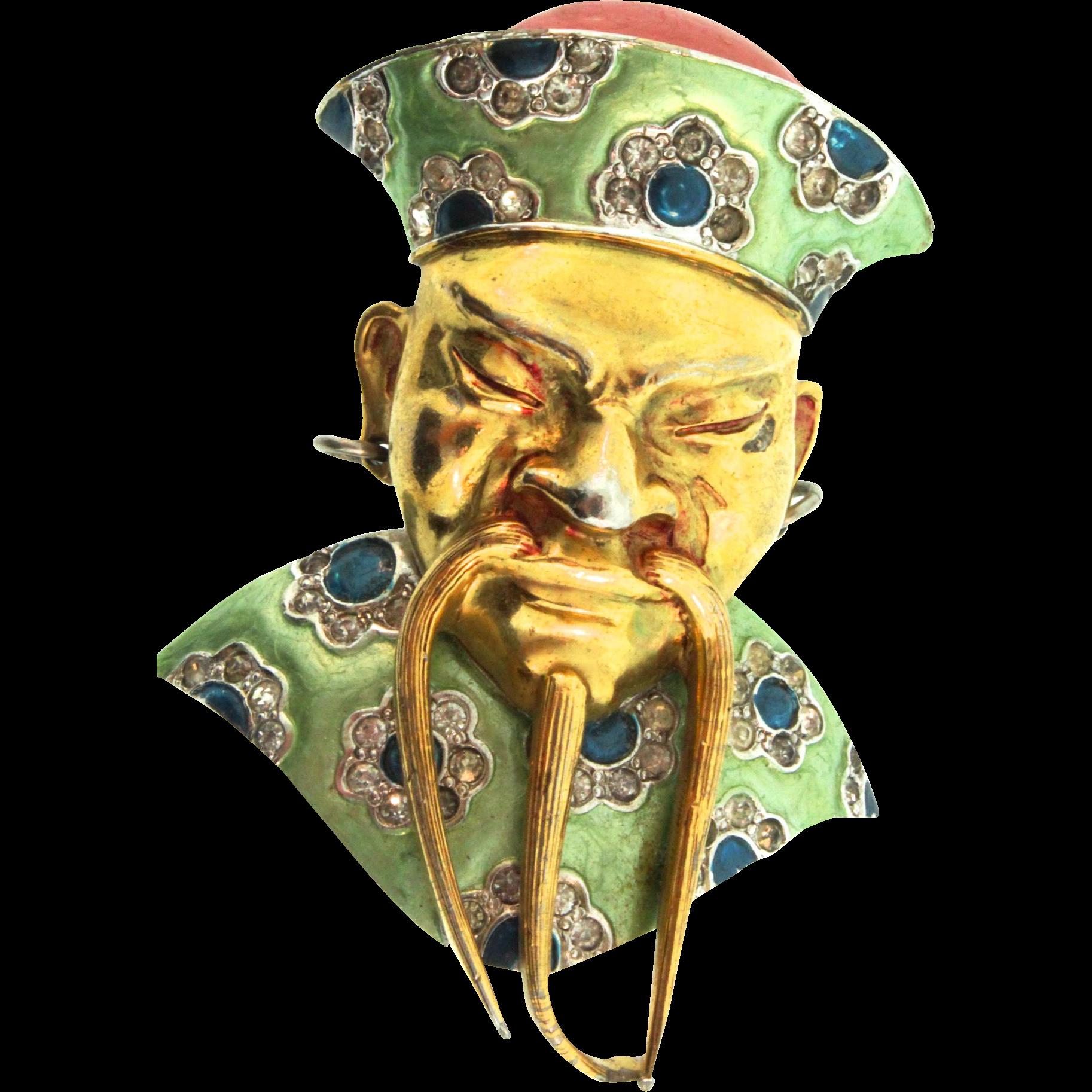 1940s MB BOUCHER Metallic Enamel MANDARIN Chinese Asian Figural Fur Clip Pin