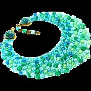 Vtg Italian Coppola e Toppo Aqua Peridot Seascape Crystal Bead Bib Necklace