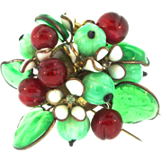 RARE Early Maison GRIPOIX for CHANEL French Depose Poured Glass Leaves Berries Fur Clip Brooch Pin