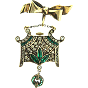 RARE Art Deco German TREULICH & KLAAS Invisibly Set Paste Watch Lapel Pin AS IS