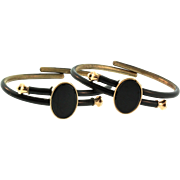 PAIR of Antique Late 1800s Victorian Gold Filled Onyx Bypass MOURNING or WEDDING Bracelets