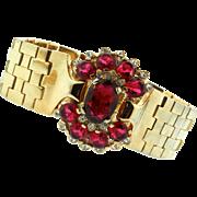 Vintage 1948 Philippe TRIFARI Tesselated Ruby Red Glass Rhinestone BRACELET