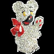 Vintage TRIFARI Philippe Pave Rhinestone Enamel Teddy Bear Bow Figural Fur Pin Clip