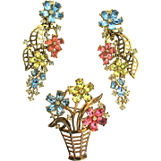 Vintage TRIFARI Fragonard Rhinestone Floral Flower Basket Figural Pin XLong Earrings