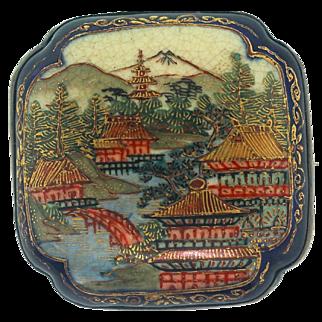 Antique Japanese SATSUMA Sterling Pagoda Porcelain Meiji Period Brooch Pin