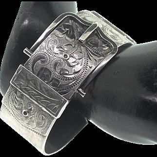 Vintage Wide Victorian Revival Inscribed With Fondest Love Sterling Birmingham BUCKLE Bangle Bracelet