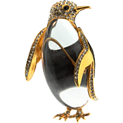 Vintage TRIFARI Jelly Belly Sterling Rhinestone PENGUIN Figural Brooch Pin BOOK PIECE