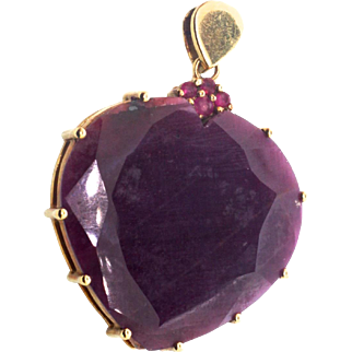 Vintage Large 10K Yellow Gold Rough Ruby HEART PENDANT approx 24 Carats 14g TW