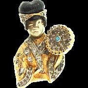 Vintage NETTIE ROSENSTEIN Asian Princess Geisha Woman Figural Rhinestone Brooch Pin