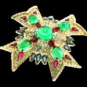 Vintage TRIFARI Jewels of India Rhinestone Maltese Cross Figural Brooch Pin