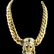 Vintage Italian Italy Designer Blackamoor Genie Figural Rhinestone Chain NECKLACE