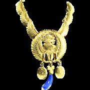 Huge Vintage KJL KENNETH LANE Egyptian Revival Dangle Statement NECKLACE