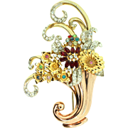 Vintage 1940s CORO Rhinestone Flower Filled Cornucopia Vase Figural Brooch Pin