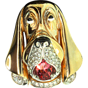 Vintage RARE 1940s MARCEL BOUCHER Rhinestone Enamel Hound Dog Figural Pin Clip Brooch