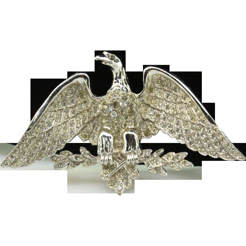 Vintage 1940s Massive Pave Rhinestone American Eagle