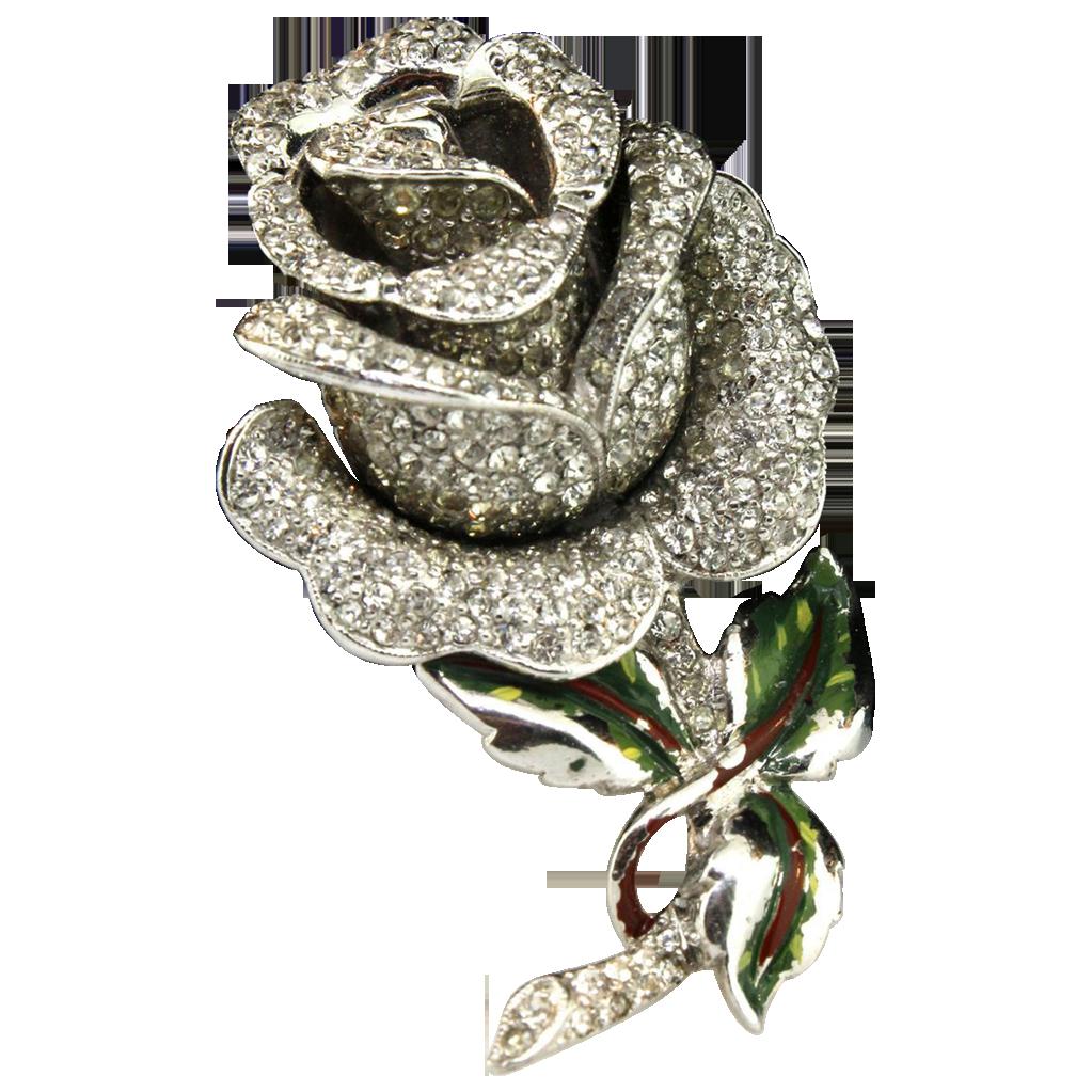 Vintage Rare Coro Pave Rhinestone Enamel Rose Flower