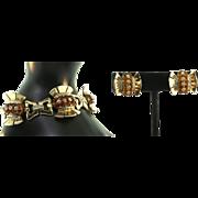 CORO COROCRAFT Vermeil Plated Sterling Deco Style Rhinestone BRACELET & EARRINGS 71+grams