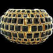 Vtg KENNETH JAY LANE KJL Modernist Black Glass Rhinestone Massive Statement CUFF Bracelet