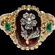 Antique Georgian 18 carat yellow gold Hessonite garnet Emerald and Diamond flower ring - circa 1820