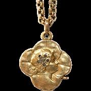 Fine Antique Art Nouveau Austro-Hungarian Lucky Lady/clover 14 carat gold and rose cut diamond pendant/locket - Vienna, circa 1890