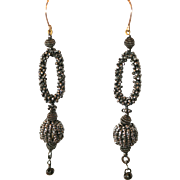 Antique Early Victorian cut steel earrings with 14 carat gold tops  - circa 1850