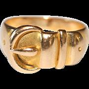 Antique Victorian 18 carat yellow gold buckle ring  - hallmarked Birmingham, England 1900