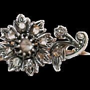 Fine Antique Victorian era 14 carat gold, silver and diamond daisy flower brooch - circa 1850, Belgian