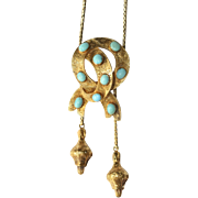 Fine Antique Victorian 18 carat gold and turquoise sentimental lovers knot slider necklace - circa 1850