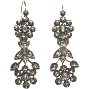 Fine Antique Dutch 14 carat gold and silver diamond Day and Night drop cluster earrings - circa 1830