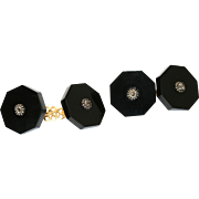 Fine Antique Victorian 18 carat yellow gold, silver, onyx and diamond cufflinks - circa 1860