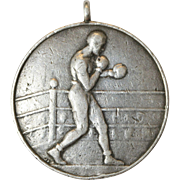 Art Deco Silver Boxing Medallion Pendant dated March 1933