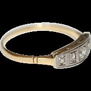 Fine Vintage Art Deco 18 carat gold, platinum and rose cut diamond ring - circa 1925